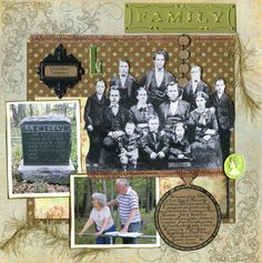 Llewellen Cemetery ~ What does the family genealogist love almost as much as vintage family photos and unlimited time on Ancestry.com?...a trip to an old family cemetery! Why not scrap a page that combines all three. Fussy cut a group family photo of the ancestors you 'visited' on a photo trip to an old family cemetery along with pictures of the gravestones and trip. Include some genealogical facts for a great page.