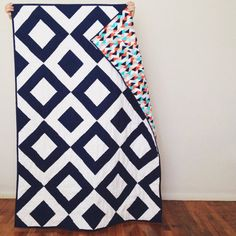 Modern Diamond Throw Quilt   for sale via rad&happy etsy