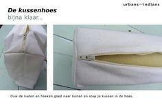Kussenhoezen naaien tutorial.  Ziet er handig uit!