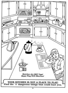 safety equipment coloring pages | safety in the home worksheets kitchen - Google Search ...