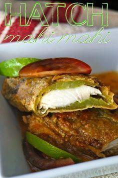 Mahi Mahi Stuffed Roasted Hatch Chiles with Tomato Lime Sauce