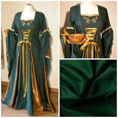 Put on your pointy ears and feel like a forest elf in this beautiful dress, take a stroll over the medieval market or ren faire, it would also be perfect as a wedding dress. It is made out of cotton in forest green ( please see small pic in collage) with golden/bronze satin as insets in the front,sides and the inner pointed sleeves. The long over sleeves are tied up to show the silky shining inner sleeves. It has a golden applique over the bust and honey/golden lace. The dress has a corset…