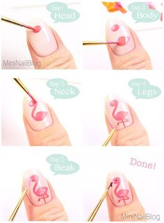Flamingo Nail Art Tutorial More .- Flamingo Nail Art Tutorial More - Trendy Nail Art, Cute Nail Art, Nail Art Diy, Easy Nail Art, Diy Nails, Pink Nail Art, Beautiful Nail Art, Nail Art Rose, How To Nail Art