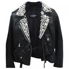 STUDDED LEATHER JACKET BALMAIN ($2,380) ❤ liked on Polyvore featuring outerwear, jackets, tops, coats, coats & jackets, balmain jacket, 100 leather jacket, balmain, studded leather jacket and genuine leather jackets