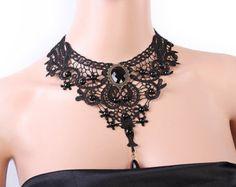 Cordón negro collar de gargantilla gargantilla por FairybyFoxie