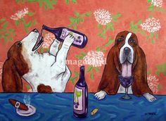 """""""Basset Hounds at the Wine Bar"""" by Jay Schmetz, Guyton, GA. // Two Basset Hounds at a Wine Bar Dog Art Print // Imagekind.com -- Buy stunning fine art prints, framed prints and canvas prints directly from independent working artists and photographers."""