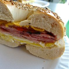 Taylor ham, egg, cheese on a sesame bagel