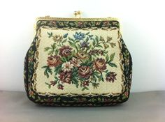 Vintage Black Floral Petite Point Tapestry Purse, West Germany. Handbag. on Etsy, $15.00