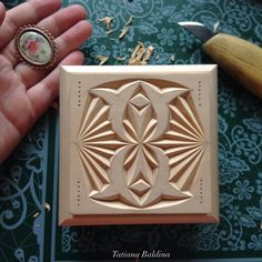 """A flower in the grandma's garden"" (chip carving, pattern by Tatiana Baldina) https://instagram.com/tatbalcarvings/"