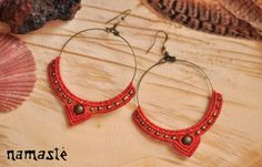 Macrame earrings tribal gypsy hippie by NamasteMacrameArt on Etsy