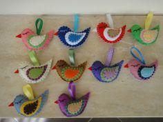 HÚSVÉTI AKCIÓ!!! 4db filc madárka (III.) tavaszi-, húsvéti-, gyerekszobai dekorációnak, Dekoráció, Meska