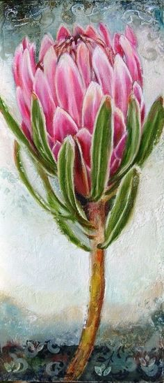 PROTEA•LOVE Flor Protea, Protea Art, Protea Flower, Canvas Painting Tutorials, Flower Painting Canvas, Canvas Art, Diy Canvas, Australian Native Flowers, Guache
