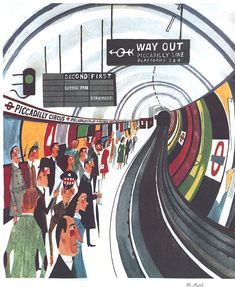 Watercolour with pen and ink, originally for 'This is London' (1959). This exceptional print is comparable in many ways to work by the Futurists – see Cyril Power's 'Tube Station' for instance (Cyril Power- Artists). There is wonderful geometry guiding us vortex-like into this print; particularized people: the guardsman, the city gent in top hat, …