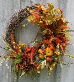 Fall Wreath, Autumn Wreath, Thanksgiving Décor, Cornucopia, Designer Holiday Wreath, Halloween, Harvest Wreath on Etsy, $199.00