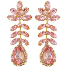 Dangling Earrings with Large Teardrop Surrounded with Crystal AB Rhinestones