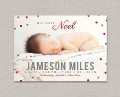 Noel Christmas Birth Announcement by announcingyou on Etsy