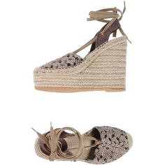 Ash Espadrilles ($79) ❤ liked on Polyvore featuring shoes, sandals, cocoa, ash sandals, lace-up sandals, wedge sandals, wedge espadrilles and glitter shoes