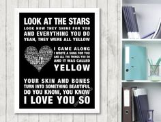 Coldplay Yellow Music Love Song Lyrics Print by EmotionalLyric