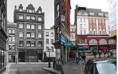 344-Charing Cross Road - Little Newport Street, C1900 & 2012 by Warsaw1948, via Flickr