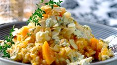 Butternut, blue cheese and almond risotto