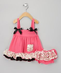 Take a look at this Hot Pink & Black Floral Swing Top & Diaper Cover - Infant by Sweet Cheeks on #zulily today!