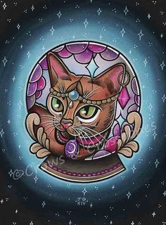 This is a print of my painting of a Mystical Fortune Teller Kitty.    The print is A4 (11.7 x 8.3) in size, is printed on high quality matte