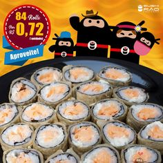 Sushi Rão, o Maior Delivery de Sushi do Rio! Faça seu pedido por Aplicativo, Inbox em nossas Fan Pages, ou através de nossos telefones - Consulte em nosso site o regulamento de nossas promoções - Imagem meramente Ilustrativa. Taxa de entrega não inclusa. Sushi Delivery, Japa Delivery, Delivery Japonês, Japonês Delivery.