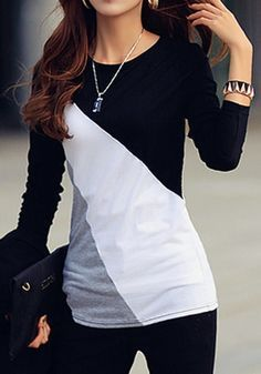 Black Patchwork Color Block Round Neck Long Sleeve Casual T-Shirt - T-Shirts - Tops