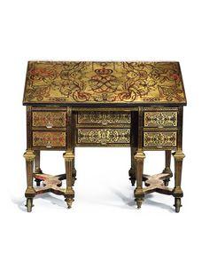 Alexandre-Jean Oppenordt (vers 1639-1715), livré en 1685 pour Louis XIV. Bureau en chêne, bois résineux, placage d'ébène et de palissandre de Rio, marqueterie en seconde partie de laiton et d'écaille rouge gravée. 92 x 101 x 54,5 cm. Estimation : 800 000/1 200 000 €. Mardi 17 novembre, salle 9 - Drouot-Richelieu, à 15 h 30. Mercredi 18 novembre, salle 9, à 14 h. Me Vincent Fraysse Commissaire-priseur judiciaire. Mmes Bourgey, Fligny, de Pazzis-Chevalier, Maréchaux, Petitot, MM. Stetten…