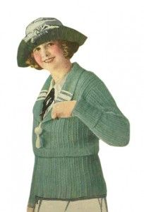 Winter Wool Sweater, circa 1921 #1920s Sweaters http://www.vintagedancer.com/1920s/ladies-1920s-sweaters/