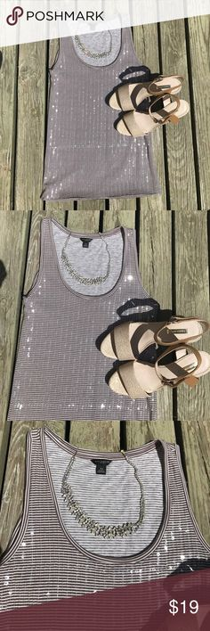 SPARKLY ANN TAYLOR Striped Top FUN NIGHT OUT ANN TAYLOR Embellised Sleeveless Top. Stripes brown and white. 60% Prima Cotton 40%modal. HEELS SOLD SEPARATE IN OTHER LISTING  SIZE 8 Clear sparkly sequins. Summer spring party dance Ann Taylor Tops