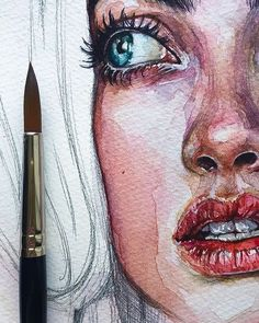 The Effective Pictures We Offer You About drawing sketches aesthetic A quality picture can tell you Watercolor Art Face, Watercolor Portraits, Watercolor Paintings, Watercolor Portrait Tutorial, Simple Watercolor, Painting Art, Art Drawings Sketches, Cool Artwork, Beautiful Artwork