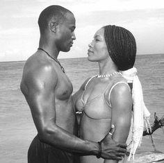"Angela Bassett and Taye Diggs in ""How Stella Got Her Groove Back.""   Twentieth Century Fox ~ Great Movie Kisses"