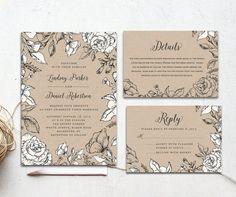 The Prairie Suite - Printable wedding invitation suite, Minimalist wedding, Kraft paper rustic garden wedding calligraphy, Laurel wedding.