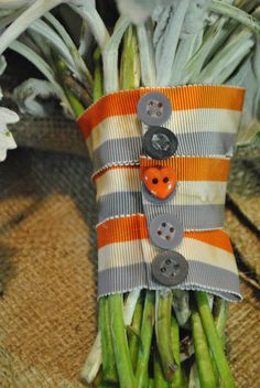 Orange, ivory and grey striped ribbon and buttons