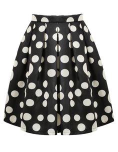 Black and White Polka Dot Pleated Skirt 21.59