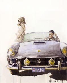 Alain Delon dans sa Ferrari 250 GT California Spider, peinture de l'artiste anglais Dan Gwinett. Toutes les infos sur News d'Anciennes : http://newsdanciennes.com/2015/02/14/morceaux-darts-du-samedi-dan-gwinett/