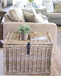basket (1 of 1) from IKEA used as an end table for storage of blankets. More