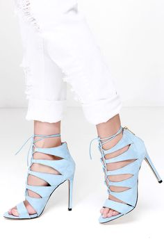 Laced and caged, the Madden Girl Raceyyy Baby Blue Suede Lace-Up Heels are hitting all the top trends this season! Pale blue microfiber suede constructs a peep toe upper. Lulu Fashion, Fashion Shoes, Baby Blue Heels, Lace Up Heels, Caged Heels, Trendy Clothes For Women, Blue Suede, Shoe Boots, Women's Shoes