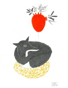 FOX PENCIL DRAWING / Original Fox Illustration by DoubleFoxStudio, $75.00