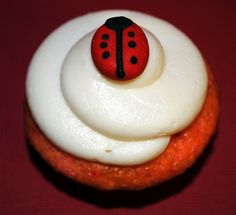 Strawberry Ladybug Cupcakes with Cream Cheese Frosting