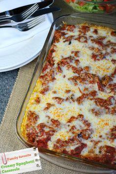 Creamy Spaghetti Casserole | you-made-that.com