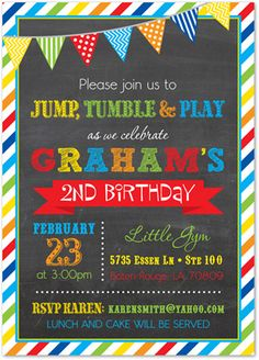 Brawny Stripe Frame Chalkboard Boy Birthday Invitations - Prime colors - Rainbow Colors - Great for Bounce House, Pump it Up and Gymnastic Gym Invitations Also has coordinating thank you notes! 4th Birthday Parties, Birthday Fun, Birthday Ideas, Bounce House Birthday, 2nd Birthday Invitations, Shower Invitations, Invites, Gymnastics Birthday, Birthday Chalkboard