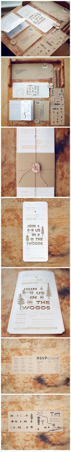 This amazing wedding invitation was designed by husband & wife, Christine and Ian of Wood & Grain