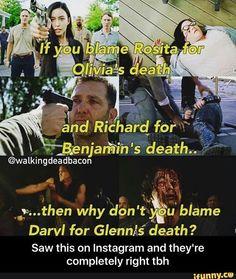 Quién no los culparía? xD En el cómic la culpa la tiene Rick y Maggie lo culpa, en la serie debió ser igual