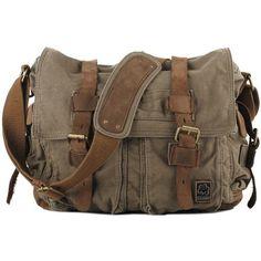 Military Messenger Bag ❤ liked on Polyvore