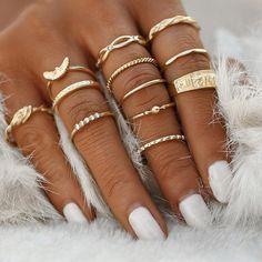 10pcs//Set Tibetan Midi Finger Ring Set for Women Lady Punk Party Club Ring
