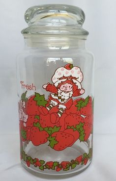 1980 Strawberry Shortcake And Custard Cat Glass Jar Canister With Lid 8 1/2 Inch #StrawberryShortcake #Jar