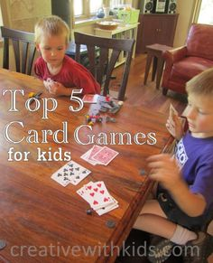 5 card games that are great for ten minute fun times with your kids to play on vacation! Card Games For Kids, Craft Activities For Kids, Projects For Kids, Crafts For Kids, Cabin Activities, Summer Crafts, Learning Activities, Family Game Night, Family Games