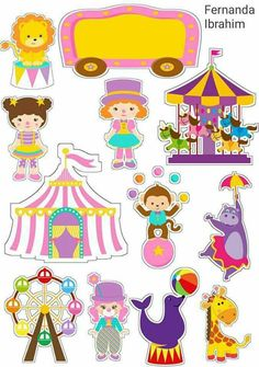 cecilia The Circus for Girls Free Printable Cake Toppers. Dibujos Baby Shower, Imprimibles Baby Shower, 14th Birthday, Circus Birthday, Circus Theme Party, Party Themes, Circus Crafts, Carnival Themes, Baby Disney